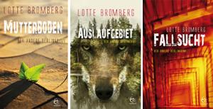 """Cover und eBook Cover """"Mutterboden"""", """"Auslaufgebiet"""" und """"Fallsucht"""" von Lotte Bromberg"""